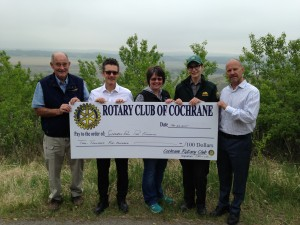 LW – Paul Kennedy, Rotary Club of Cochrane, Tom Wilk, Rotary Club of Cochrane, Tara McFadden, Glenbow Ranch Park Foundation, Heather Kemski, Alberta Parks, Steve Cook, Rotary Club of Cochrane